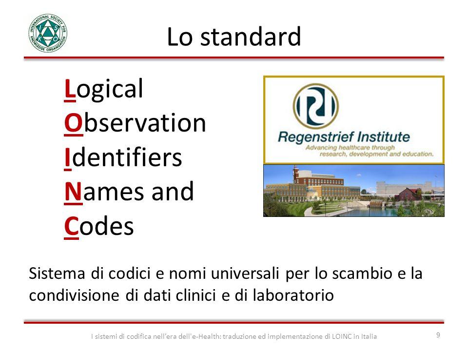 Sistema di codici e nomi universali per lo scambio e la condivisione di dati clinici e di laboratorio I sistemi di codifica nellera dell'e-Health: tra