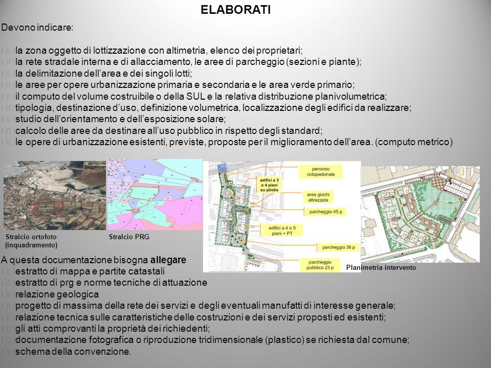 Devono indicare: la zona oggetto di lottizzazione con altimetria, elenco dei proprietari; la rete stradale interna e di allacciamento, le aree di parc