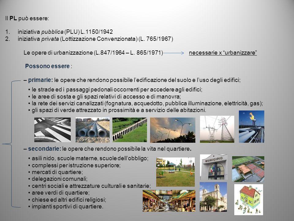 Le opere di urbanizzazione (L.847/1964 – L. 865/1971) necessarie x urbanizzare Possono essere : – primarie: le opere che rendono possibile ledificazio