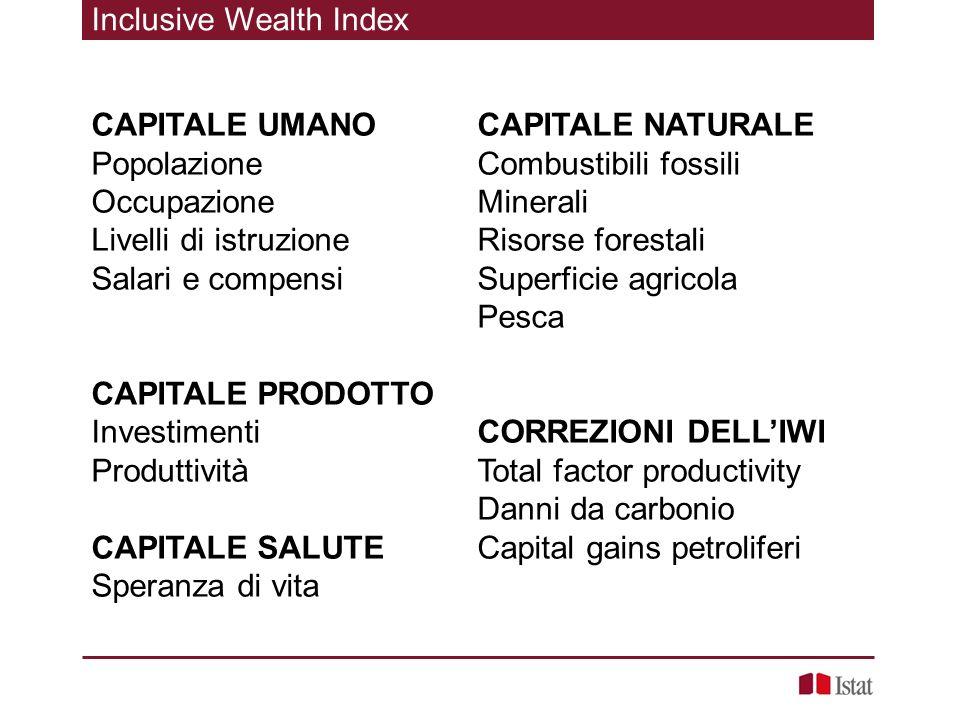 Inclusive Wealth Index CAPITALE UMANO Popolazione Occupazione Livelli di istruzione Salari e compensi CAPITALE PRODOTTO Investimenti Produttività CAPI
