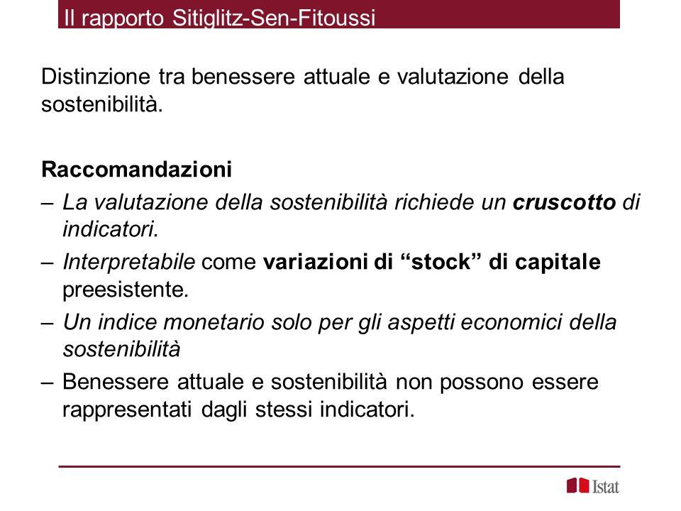 Il rapporto Sitiglitz-Sen-Fitoussi Distinzione tra benessere attuale e valutazione della sostenibilità. Raccomandazioni –La valutazione della sostenib