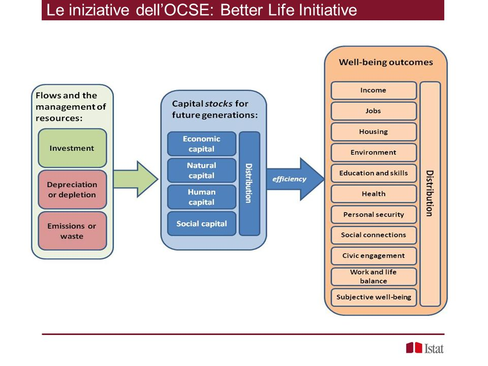 Le iniziative dellOCSE: Better Life Initiative Each broad type of capital (economic, natural, human and social) may influence various well-being outcomes in different ways The production function linking capital and other inputs to well-being is specific to each of the well-being outcomes considered, and part of the research agenda is to learn more about them; in some cases the emphasis may be on the liabilities (e.g.