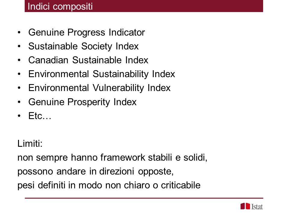 Indici compositi Genuine Progress Indicator Sustainable Society Index Canadian Sustainable Index Environmental Sustainability Index Environmental Vuln