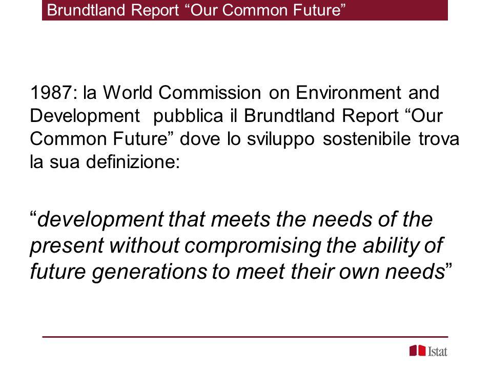 1987: la World Commission on Environment and Development pubblica il Brundtland Report Our Common Future dove lo sviluppo sostenibile trova la sua def