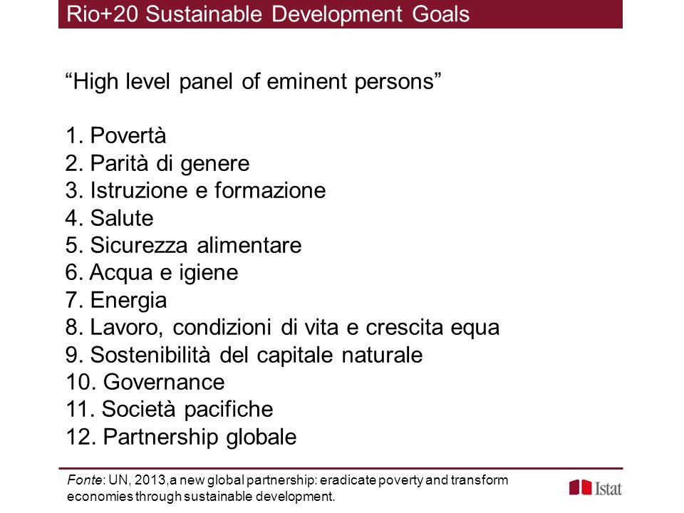 High level panel of eminent persons 1. Povertà 2. Parità di genere 3. Istruzione e formazione 4. Salute 5. Sicurezza alimentare 6. Acqua e igiene 7. E