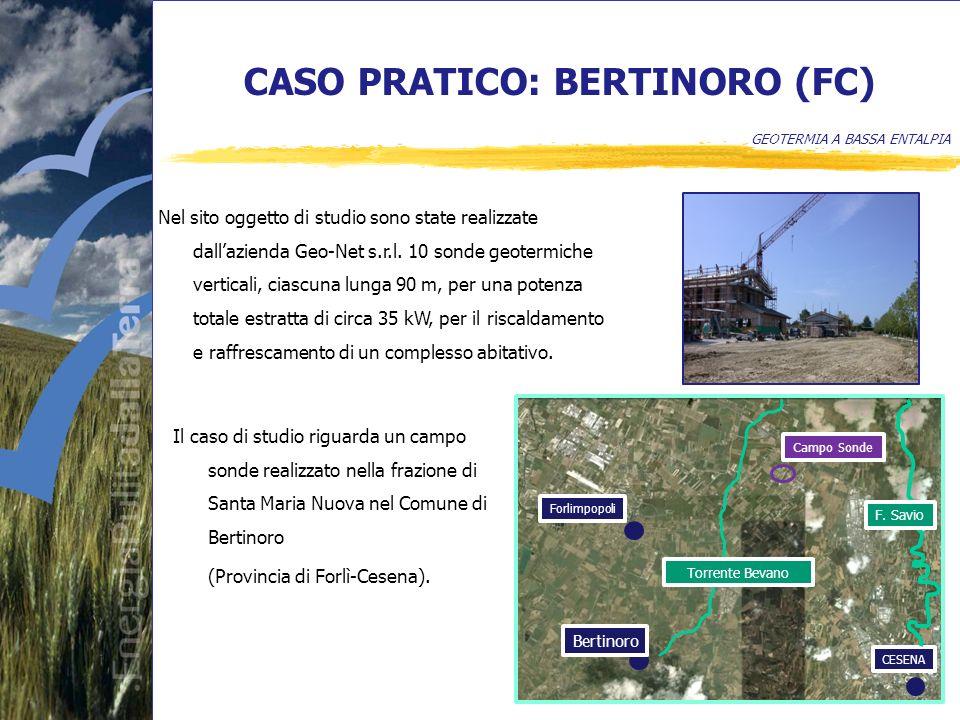 CASO PRATICO: BERTINORO (FC) GEOTERMIA A BASSA ENTALPIA Nel sito oggetto di studio sono state realizzate dallazienda Geo-Net s.r.l.