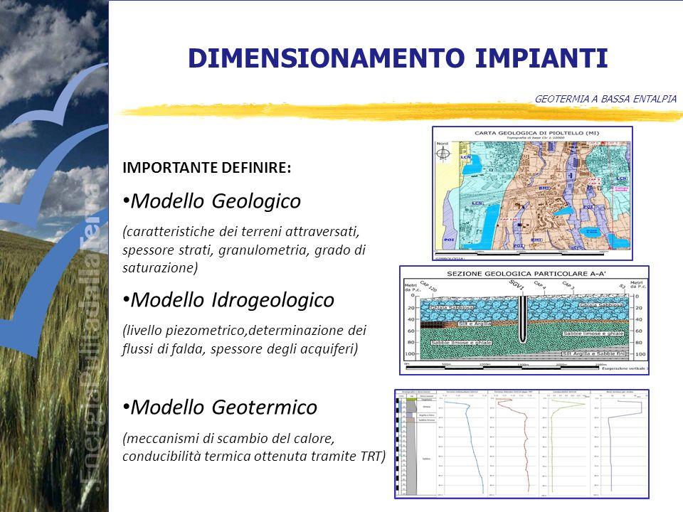 DIMENSIONAMENTO IMPIANTI GEOTERMIA A BASSA ENTALPIA IMPORTANTE DEFINIRE: Modello Geologico (caratteristiche dei terreni attraversati, spessore strati, granulometria, grado di saturazione) Modello Idrogeologico (livello piezometrico,determinazione dei flussi di falda, spessore degli acquiferi) Modello Geotermico (meccanismi di scambio del calore, conducibilità termica ottenuta tramite TRT)