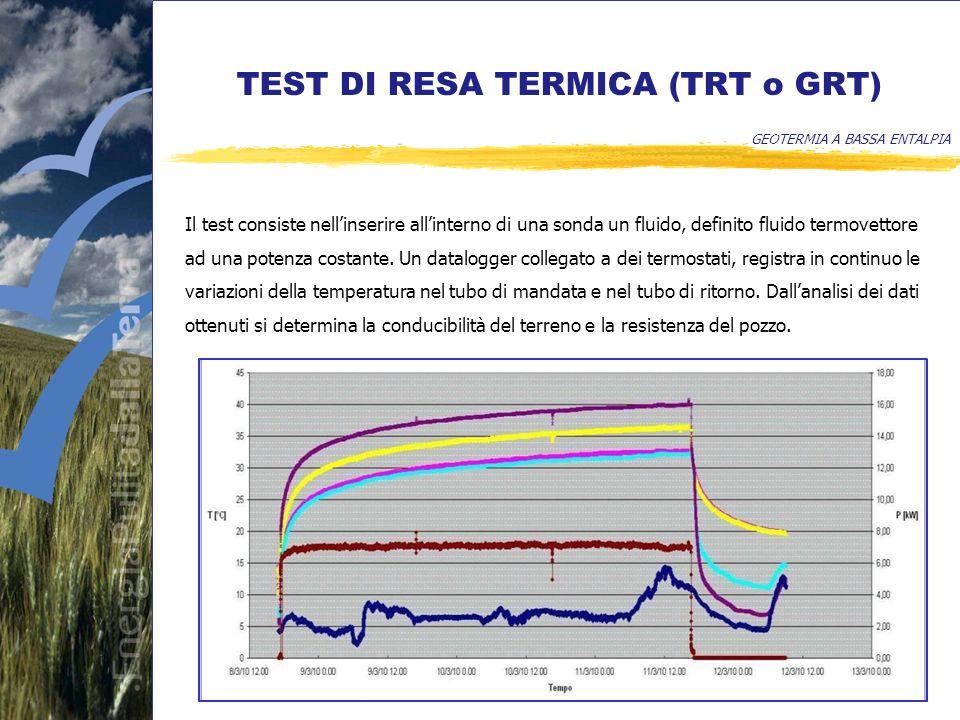 TEST DI RESA TERMICA (TRT o GRT) GEOTERMIA A BASSA ENTALPIA Il test consiste nellinserire allinterno di una sonda un fluido, definito fluido termovettore ad una potenza costante.