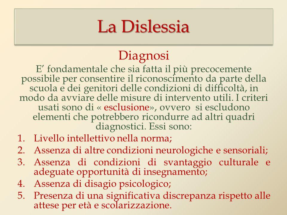 Diagnosi E fondamentale che sia fatta il più precocemente possibile per consentire il riconoscimento da parte della scuola e dei genitori delle condizioni di difficoltà, in modo da avviare delle misure di intervento utili.