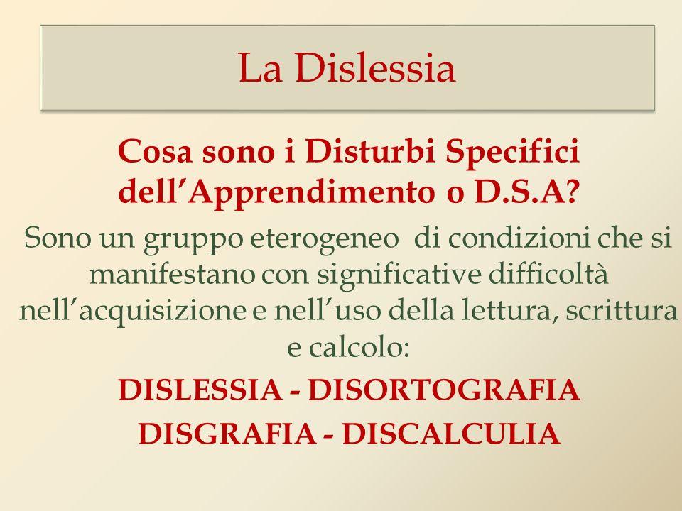 Cosa sono i Disturbi Specifici dellApprendimento o D.S.A? Sono un gruppo eterogeneo di condizioni che si manifestano con significative difficoltà nell