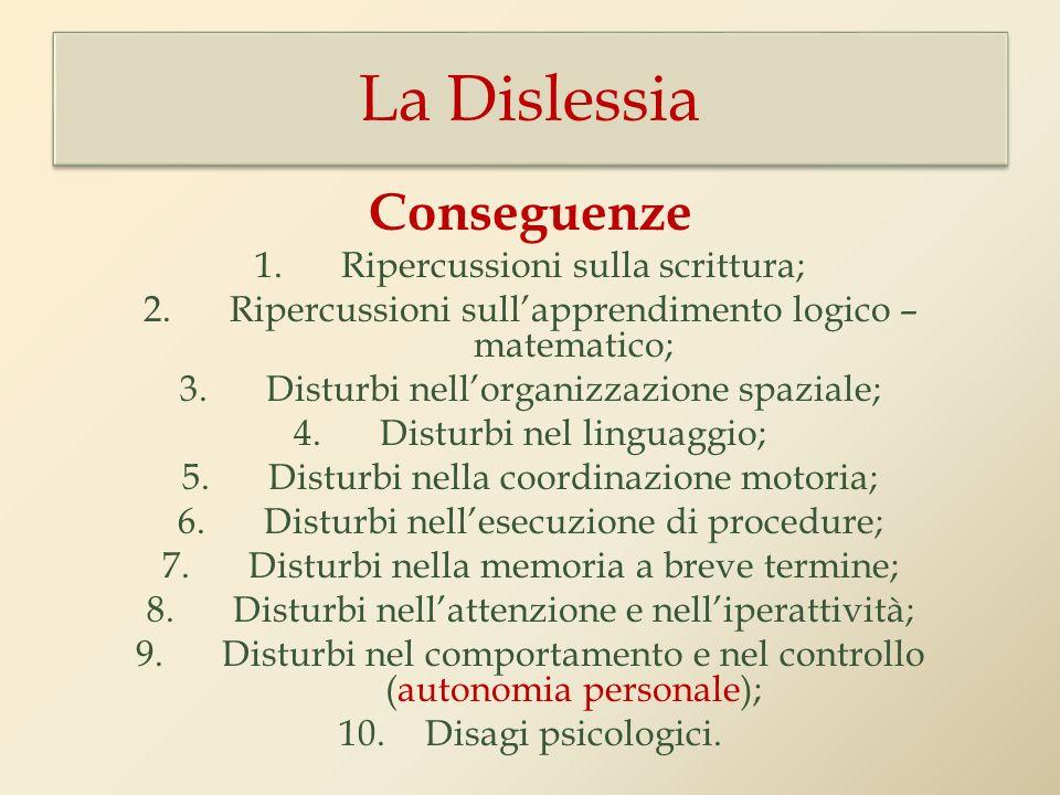 Conseguenze 1.Ripercussioni sulla scrittura; 2.Ripercussioni sullapprendimento logico – matematico; 3.Disturbi nellorganizzazione spaziale; 4.Disturbi