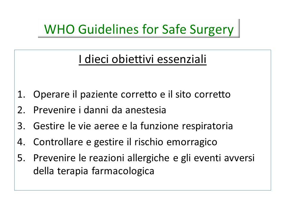 I dieci obiettivi essenziali 1.Operare il paziente corretto e il sito corretto 2.Prevenire i danni da anestesia 3.Gestire le vie aeree e la funzione r