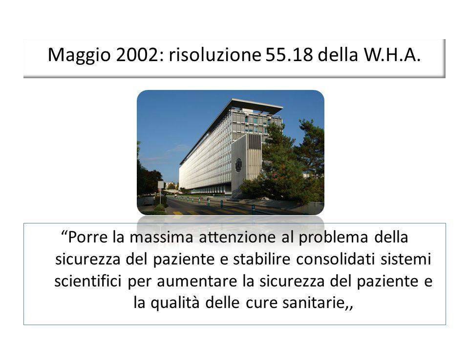 Maggio 2002: risoluzione 55.18 della W.H.A. Porre la massima attenzione al problema della sicurezza del paziente e stabilire consolidati sistemi scien