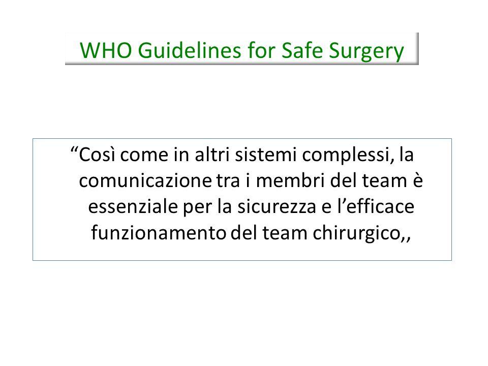 Così come in altri sistemi complessi, la comunicazione tra i membri del team è essenziale per la sicurezza e lefficace funzionamento del team chirurgi