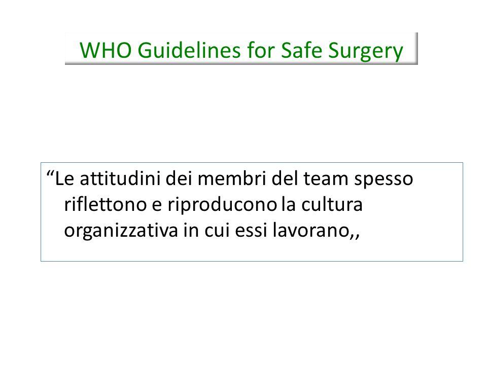 Le attitudini dei membri del team spesso riflettono e riproducono la cultura organizzativa in cui essi lavorano,, WHO Guidelines for Safe Surgery