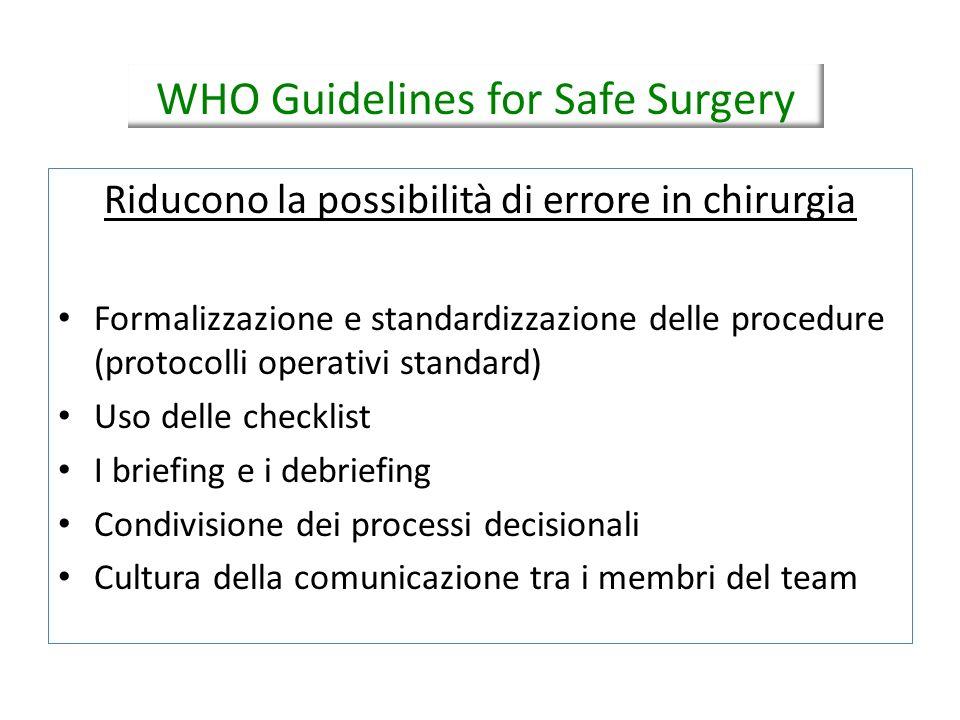 Riducono la possibilità di errore in chirurgia Formalizzazione e standardizzazione delle procedure (protocolli operativi standard) Uso delle checklist