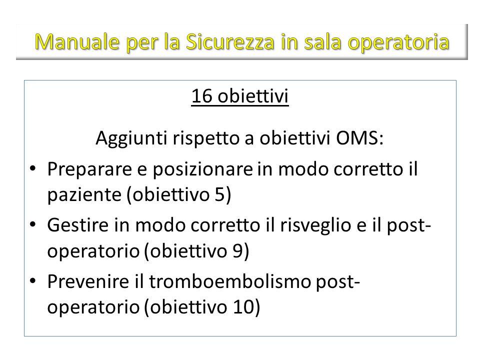 16 obiettivi Aggiunti rispetto a obiettivi OMS: Preparare e posizionare in modo corretto il paziente (obiettivo 5) Gestire in modo corretto il risvegl