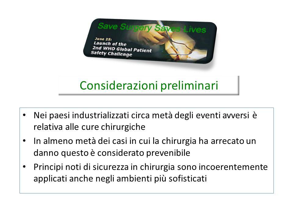I dieci obiettivi essenziali 6.Prevenire le infezioni del sito chirurgico 7.