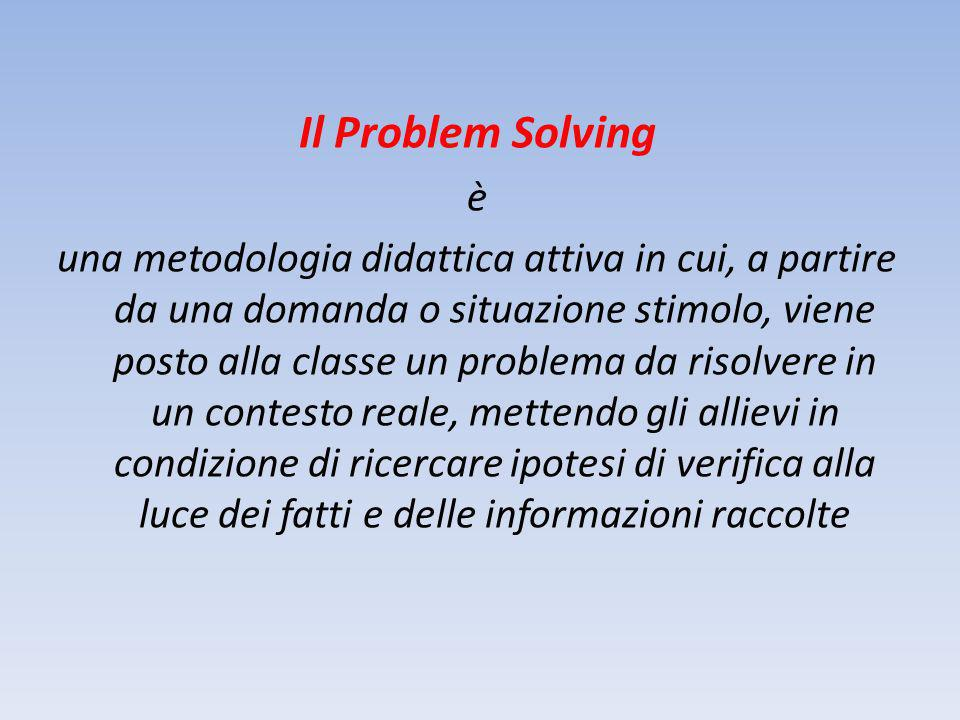 Il Problem Solving è una metodologia didattica attiva in cui, a partire da una domanda o situazione stimolo, viene posto alla classe un problema da risolvere in un contesto reale, mettendo gli allievi in condizione di ricercare ipotesi di verifica alla luce dei fatti e delle informazioni raccolte