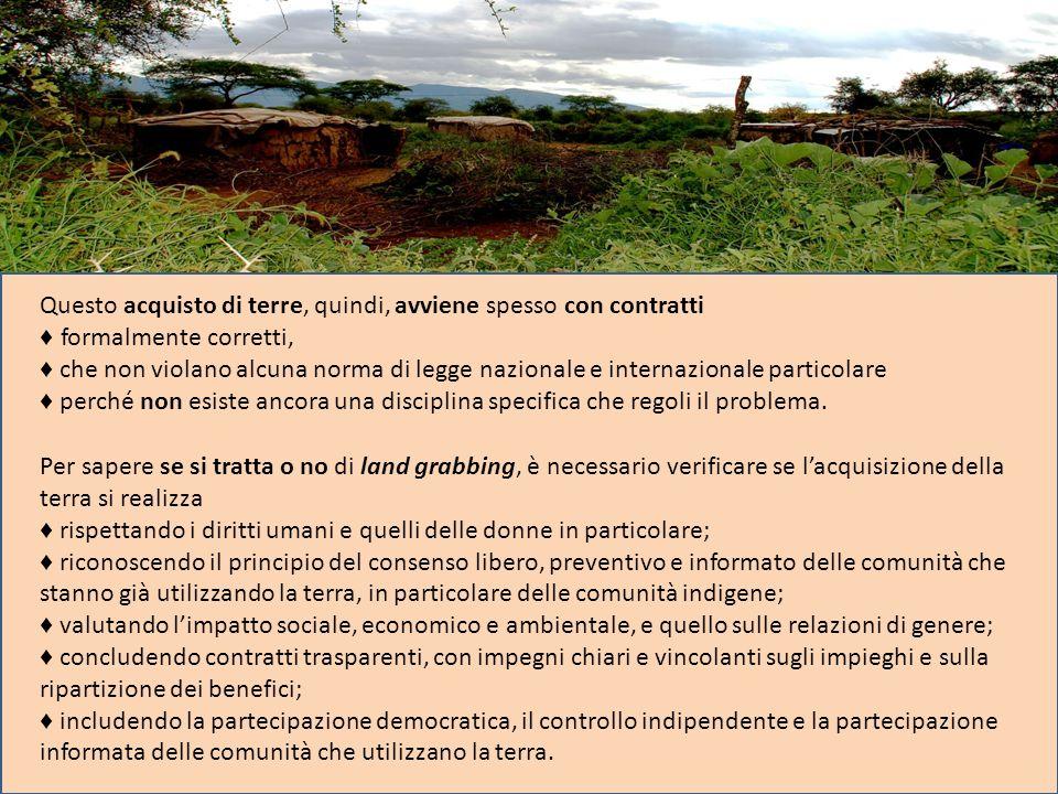 Questo acquisto di terre, quindi, avviene spesso con contratti formalmente corretti, che non violano alcuna norma di legge nazionale e internazionale