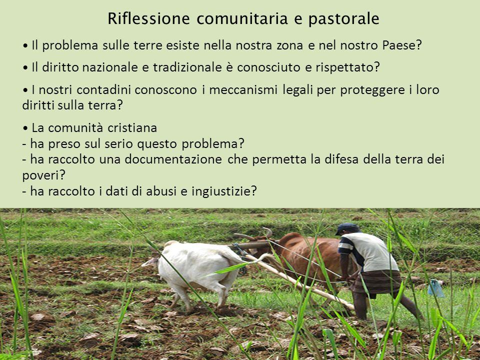 Riflessione comunitaria e pastorale Il problema sulle terre esiste nella nostra zona e nel nostro Paese? Il diritto nazionale e tradizionale è conosci