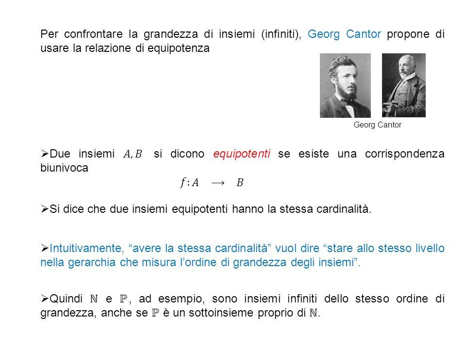 Per confrontare la grandezza di insiemi (infiniti), Georg Cantor propone di usare la relazione di equipotenza Si dice che due insiemi equipotenti hanno la stessa cardinalità.