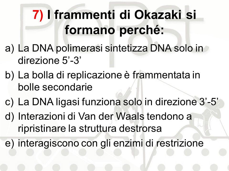 7) I frammenti di Okazaki si formano perché: a)La DNA polimerasi sintetizza DNA solo in direzione 5-3 b)La bolla di replicazione è frammentata in boll