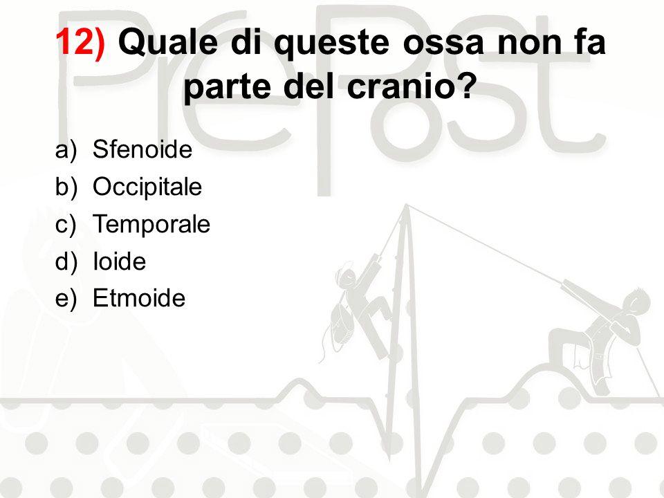 12) Quale di queste ossa non fa parte del cranio? a)Sfenoide b)Occipitale c)Temporale d)Ioide e)Etmoide