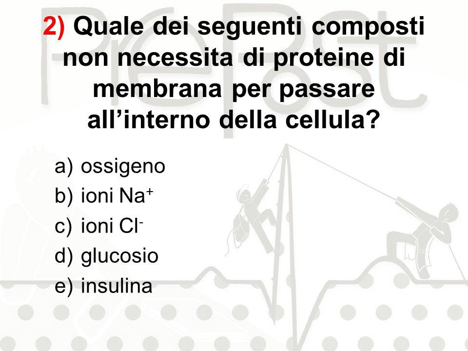 2) Quale dei seguenti composti non necessita di proteine di membrana per passare allinterno della cellula? a)ossigeno b)ioni Na + c)ioni Cl - d)glucos