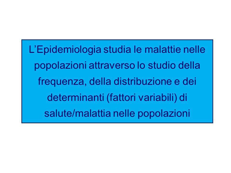 LEpidemiologia studia le malattie nelle popolazioni attraverso lo studio della frequenza, della distribuzione e dei determinanti (fattori variabili) d
