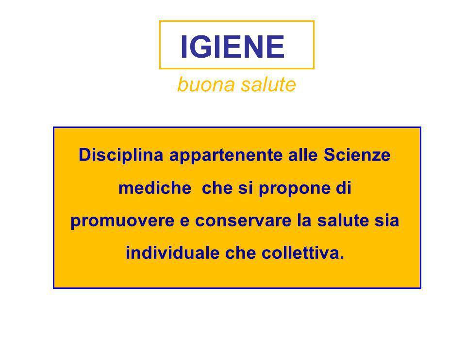 Disciplina appartenente alle Scienze mediche che si propone di promuovere e conservare la salute sia individuale che collettiva. IGIENE buona salute