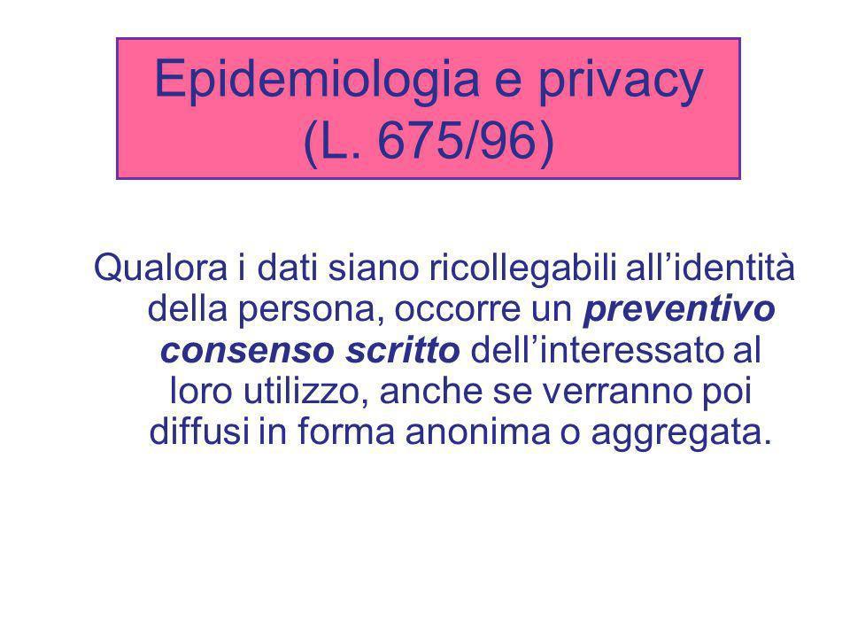 Epidemiologia e privacy (L. 675/96) Qualora i dati siano ricollegabili allidentità della persona, occorre un preventivo consenso scritto dellinteressa