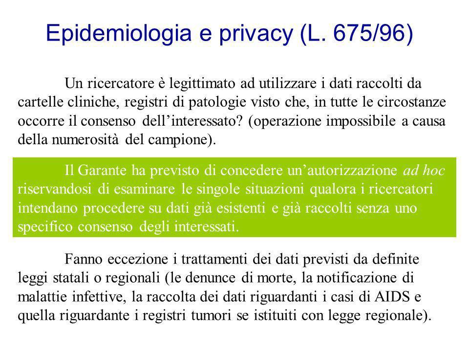 Epidemiologia e privacy (L. 675/96) Un ricercatore è legittimato ad utilizzare i dati raccolti da cartelle cliniche, registri di patologie visto che,