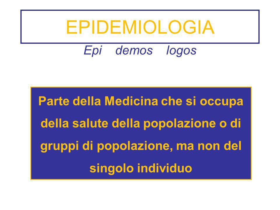 EPIDEMIOLOGIA Epi demos logos Parte della Medicina che si occupa della salute della popolazione o di gruppi di popolazione, ma non del singolo individ