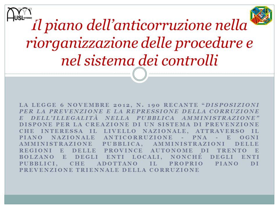 LA LEGGE 6 NOVEMBRE 2012, N. 190 RECANTE DISPOSIZIONI PER LA PREVENZIONE E LA REPRESSIONE DELLA CORRUZIONE E DELLILLEGALITÀ NELLA PUBBLICA AMMINISTRAZ