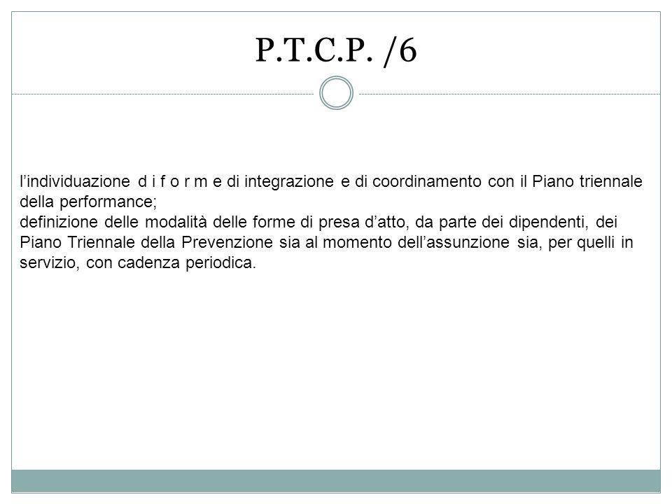 P.T.C.P. /6 lindividuazione d i f o r m e di integrazione e di coordinamento con il Piano triennale della performance; definizione delle modalità dell