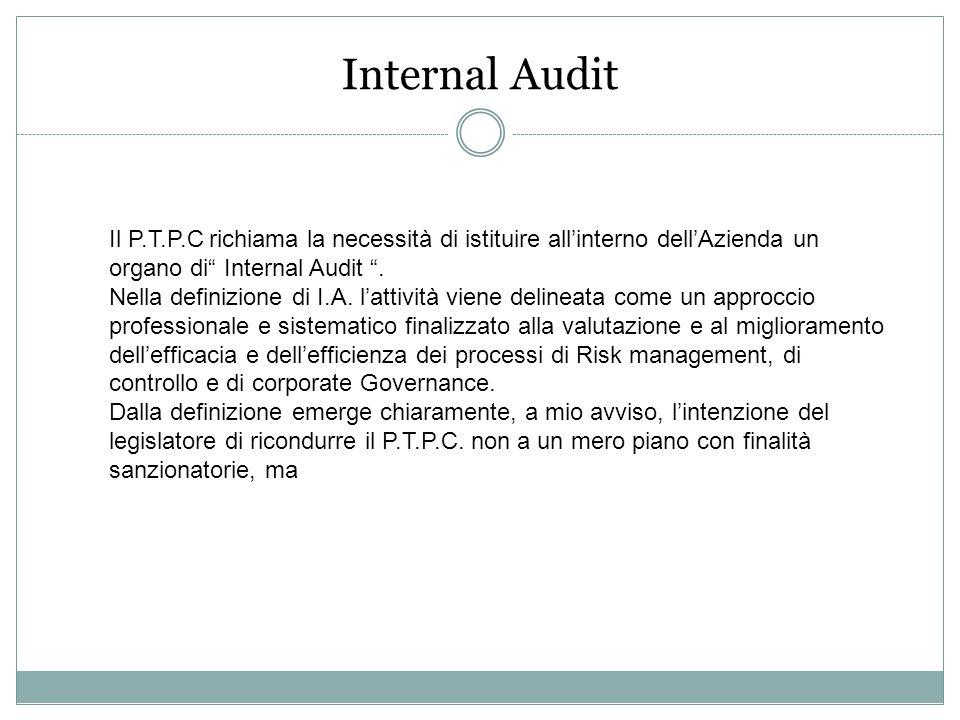 Internal Audit Il P.T.P.C richiama la necessità di istituire allinterno dellAzienda un organo di Internal Audit. Nella definizione di I.A. lattività v