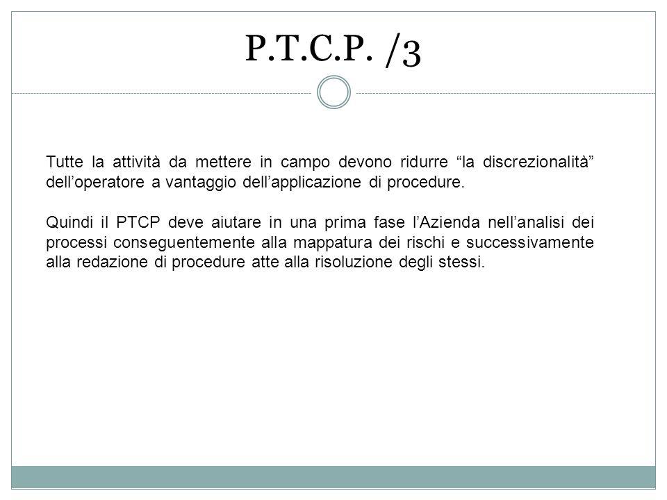 P.T.C.P. /3 Tutte la attività da mettere in campo devono ridurre la discrezionalità delloperatore a vantaggio dellapplicazione di procedure. Quindi il