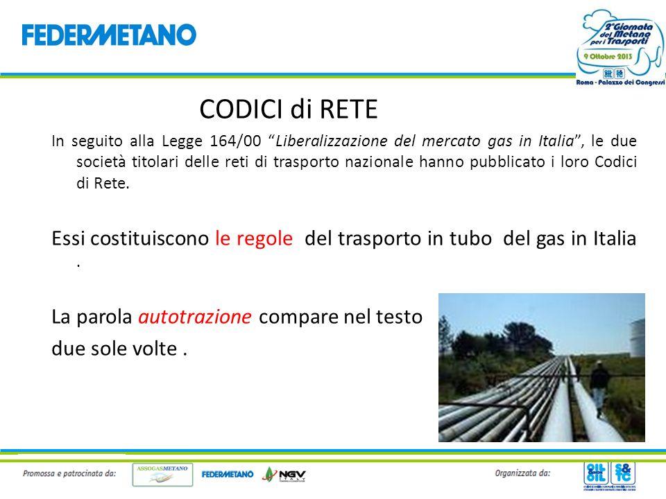CODICI di RETE In seguito alla Legge 164/00 Liberalizzazione del mercato gas in Italia, le due società titolari delle reti di trasporto nazionale hann