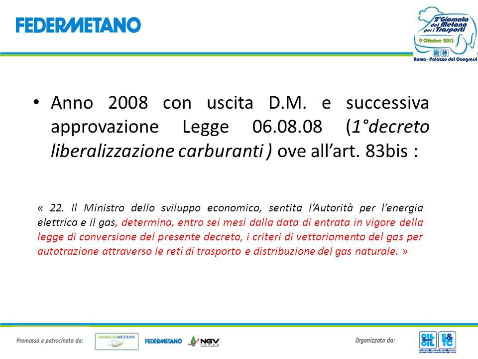 Anno 2008 con uscita D.M. e successiva approvazione Legge 06.08.08 (1°decreto liberalizzazione carburanti ) ove allart. 83bis : « 22. Il Ministro dell