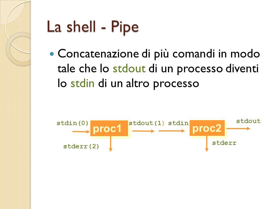 La shell - Pipe Concatenazione di più comandi in modo tale che lo stdout di un processo diventi lo stdin di un altro processo proc1 stdin(0)stdout(1)