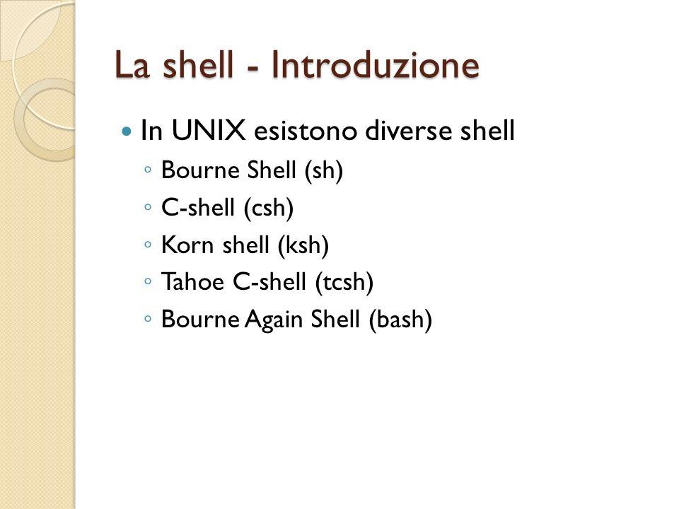 La shell - Pipe Sintassi: comando1 | comando2 Loutput di comandi1 diventa linput di comando2 Esempi: ls –la | more cat /etc/passwd | sed s/bash/csh/g cat /etc/passwd | grep alice