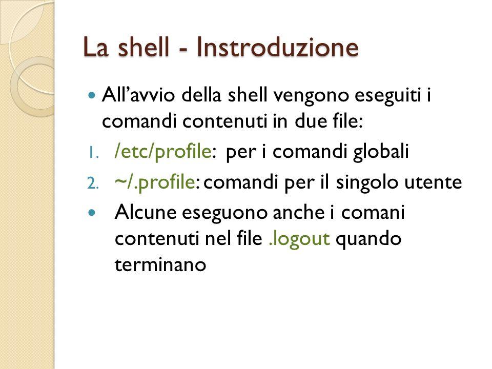 Espansione dei comandi La shell esegue lespansione in un ordine ben preciso dopo aver analizzato la riga di comando Brace Expansion: viene sostituito prima il contenuto delle parentesi graffe (se non quotate) Esempio: cat file{1,2,3}.txt viene sostituito da cat file1.txt file2.txt file3.txt Tilde Expansion: viene espanso i carattere tilde ~ (se non quotate) Esempio: cat ~/file.txt viene espanso in cat /home/alice/file.txt