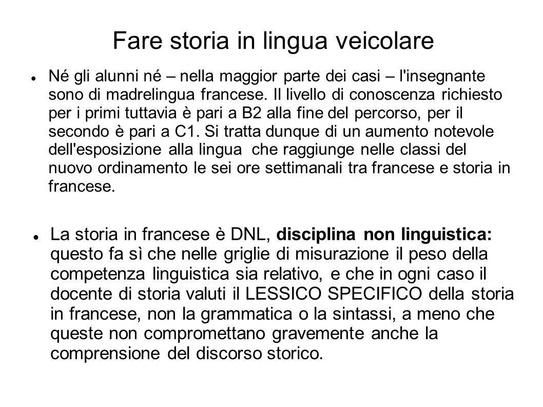 Fare storia in lingua veicolare Né gli alunni né – nella maggior parte dei casi – l insegnante sono di madrelingua francese.
