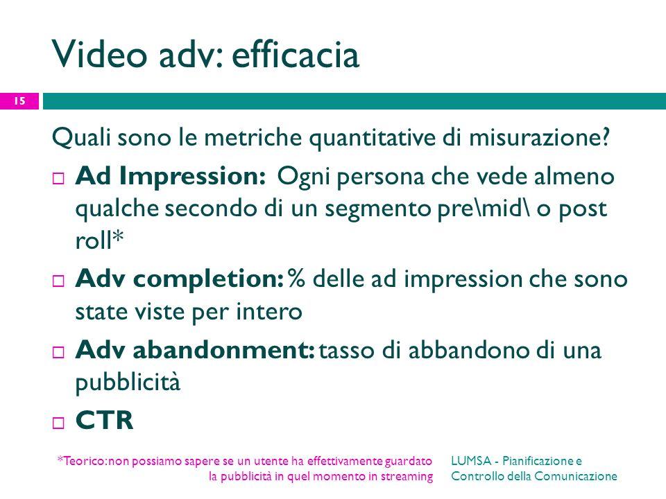 Video adv: efficacia Quali sono le metriche quantitative di misurazione? Ad Impression: Ogni persona che vede almeno qualche secondo di un segmento pr