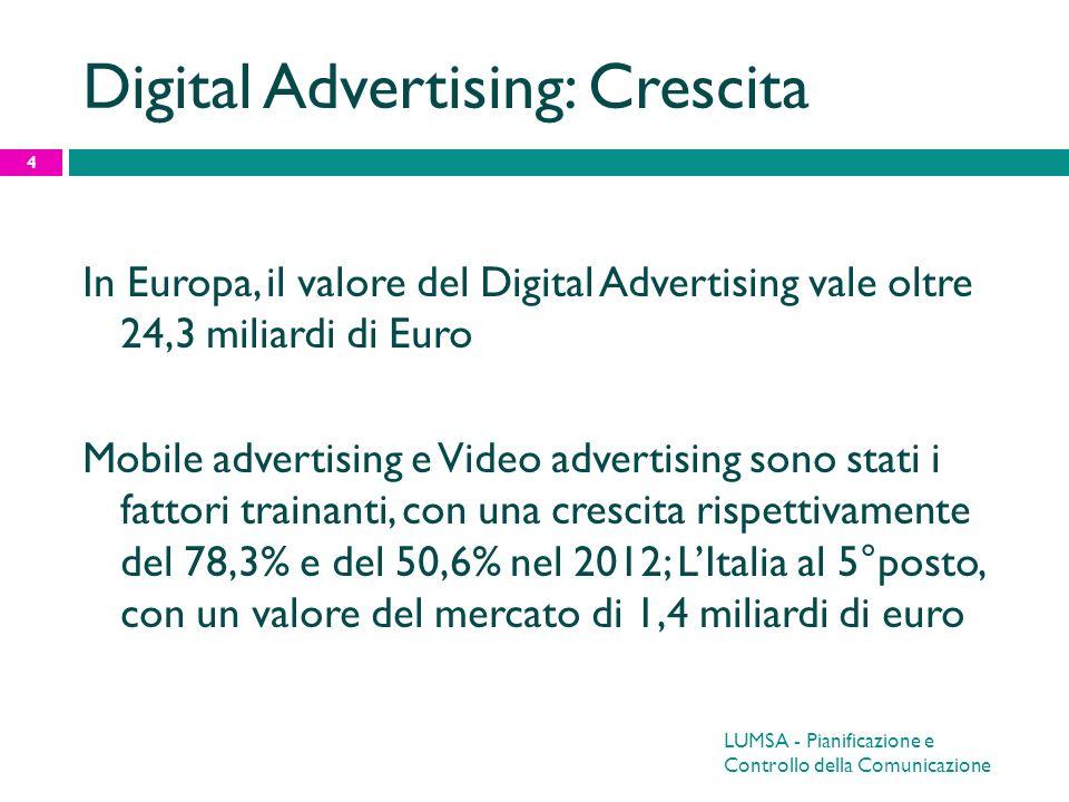 LUMSA - Pianificazione e Controllo della Comunicazione 5 Digital Advertising < TV Nonostante i grandi numeri generati sia in Europa che in USA, il D.A.