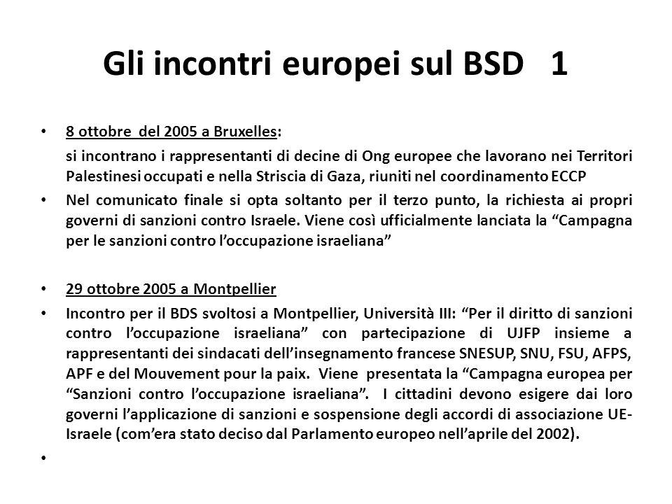 Gli incontri europei sul BSD 1 8 ottobre del 2005 a Bruxelles: si incontrano i rappresentanti di decine di Ong europee che lavorano nei Territori Palestinesi occupati e nella Striscia di Gaza, riuniti nel coordinamento ECCP Nel comunicato finale si opta soltanto per il terzo punto, la richiesta ai propri governi di sanzioni contro Israele.