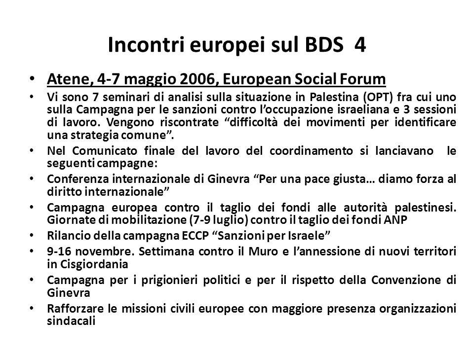 Incontri europei sul BDS 4 Atene, 4-7 maggio 2006, European Social Forum Vi sono 7 seminari di analisi sulla situazione in Palestina (OPT) fra cui uno sulla Campagna per le sanzioni contro loccupazione israeliana e 3 sessioni di lavoro.