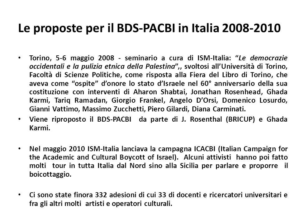 Le proposte per il BDS-PACBI in Italia 2008-2010 Torino, 5-6 maggio 2008 - seminario a cura di ISM-Italia: Le democrazie occidentali e la pulizia etnica della Palestina,, svoltosi allUniversità di Torino, Facoltà di Scienze Politiche, come risposta alla Fiera del Libro di Torino, che aveva come ospite donore lo stato dIsraele nel 60° anniversario della sua costituzione con interventi di Aharon Shabtai, Jonathan Rosenhead, Ghada Karmi, Tariq Ramadan, Giorgio Frankel, Angelo DOrsi, Domenico Losurdo, Gianni Vattimo, Massimo Zucchetti, Piero Gilardi, Diana Carminati.