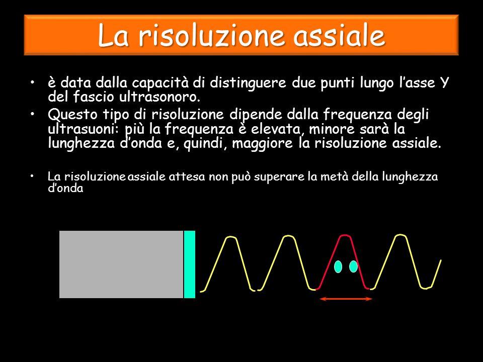 è data dalla capacità di distinguere due punti lungo lasse Y del fascio ultrasonoro.